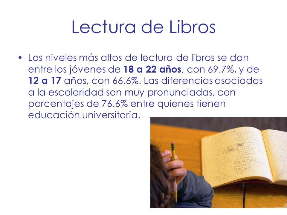 Lectura de Libros Los niveles más altos de lectura de libros se dan entre los jóvenes de 18 a 22 años, con 69.7%, y de 12 a 17 años, con 66.6%. Las di