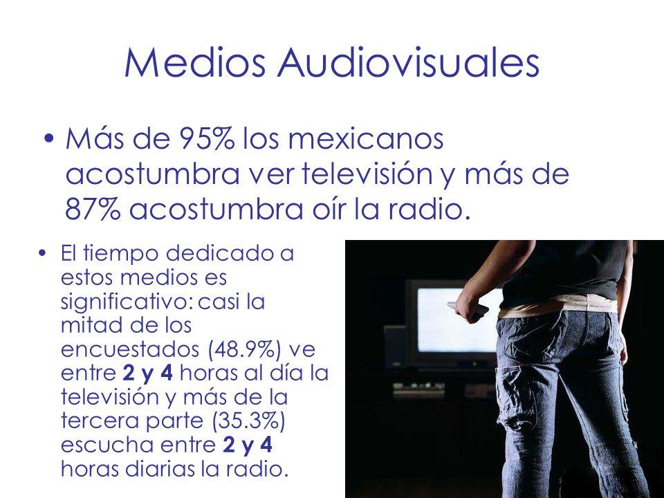 Medios Audiovisuales Más de 95% los mexicanos acostumbra ver televisión y más de 87% acostumbra oír la radio. El tiempo dedicado a estos medios es sig
