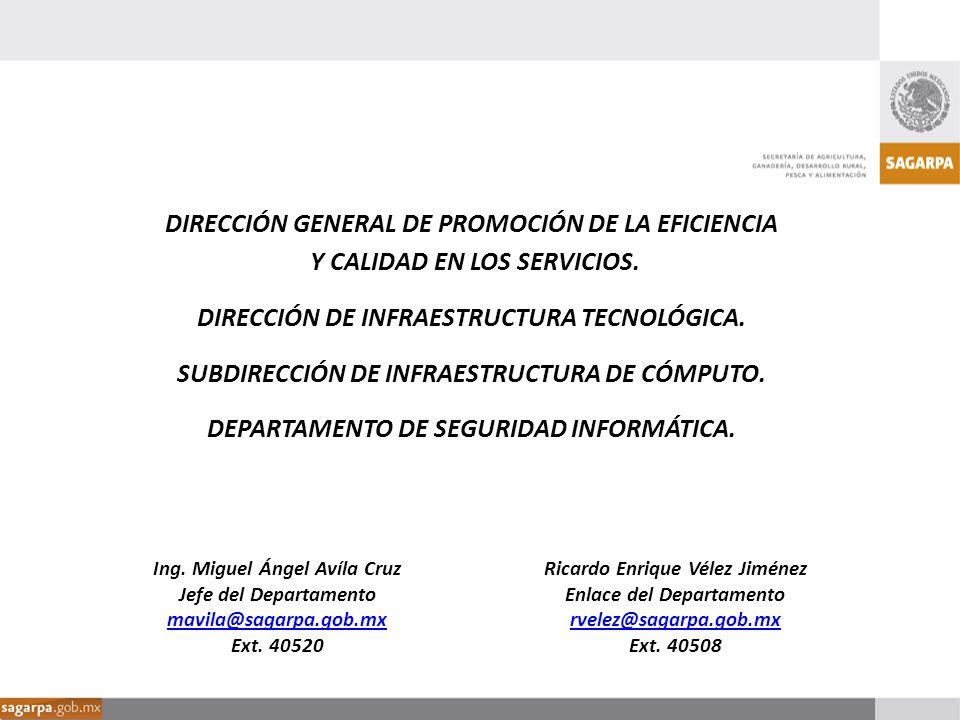 Ricardo Enrique Vélez Jiménez Enlace del Departamento de Seguridad Informática rvelez@sagarpa.gob.mx Ext.
