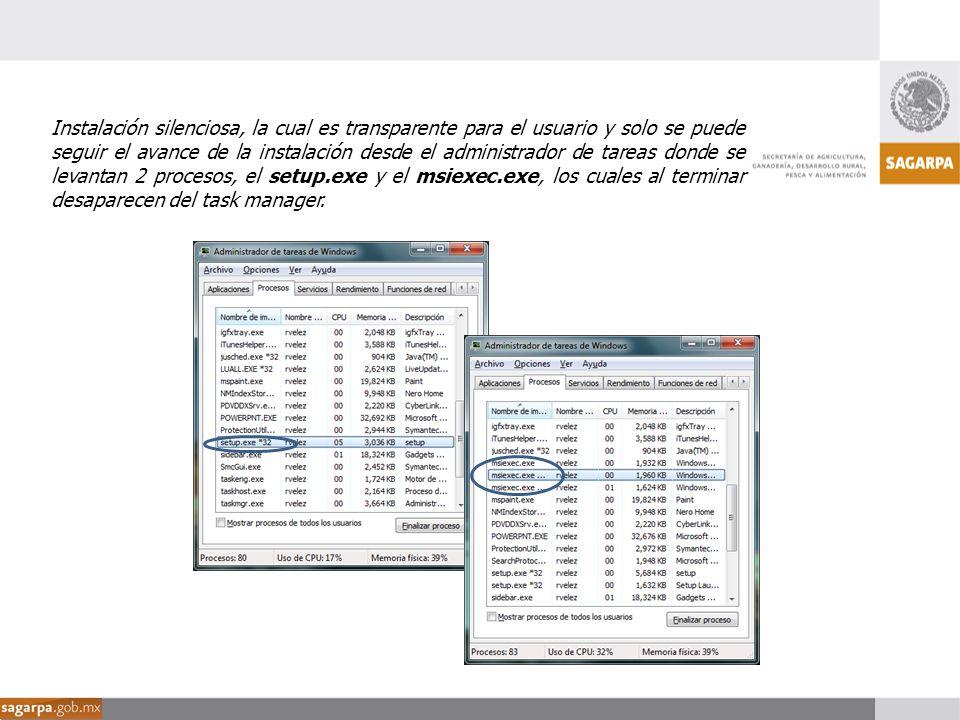 Instalación silenciosa, la cual es transparente para el usuario y solo se puede seguir el avance de la instalación desde el administrador de tareas do