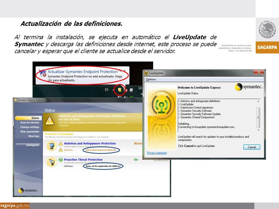 Al termina la instalación, se ejecuta en automático el LiveUpdate de Symantec y descarga las definiciones desde internet, este proceso se puede cancel