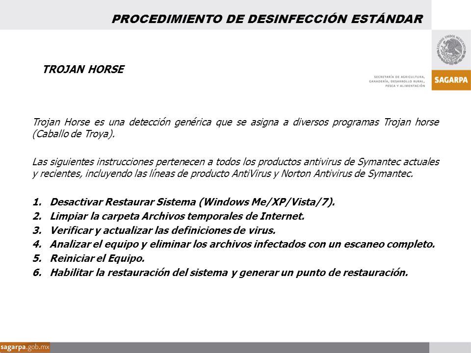 TROJAN HORSE Trojan Horse es una detección genérica que se asigna a diversos programas Trojan horse (Caballo de Troya). Las siguientes instrucciones p