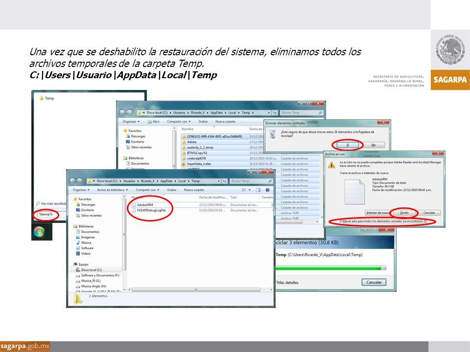 Una vez que se deshabilito la restauración del sistema, eliminamos todos los archivos temporales de la carpeta Temp. C:\Users\Usuario\AppData\Local\Te