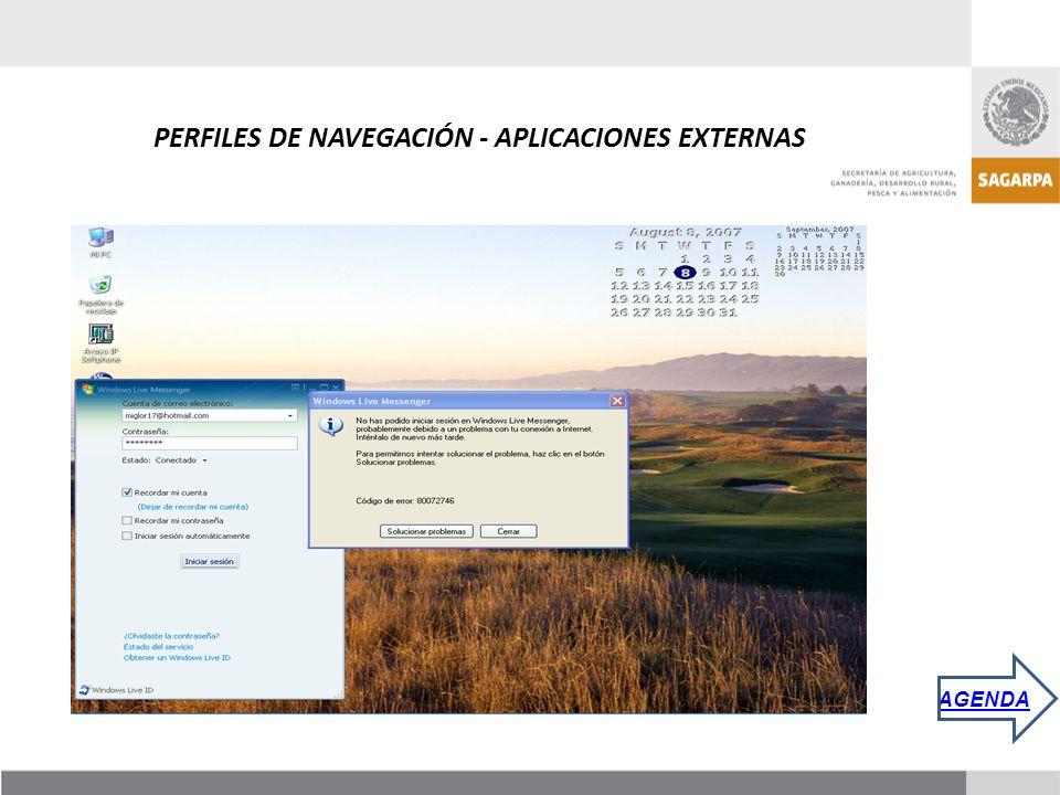 PERFILES DE NAVEGACIÓN - APLICACIONES EXTERNAS AGENDA