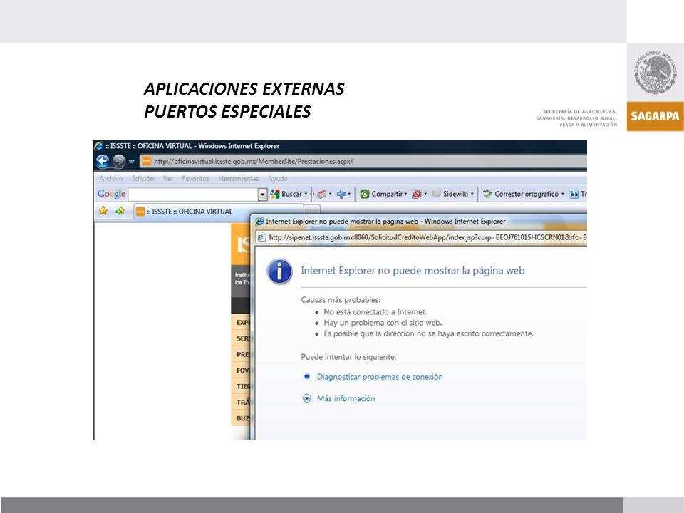 APLICACIONES EXTERNAS PUERTOS ESPECIALES