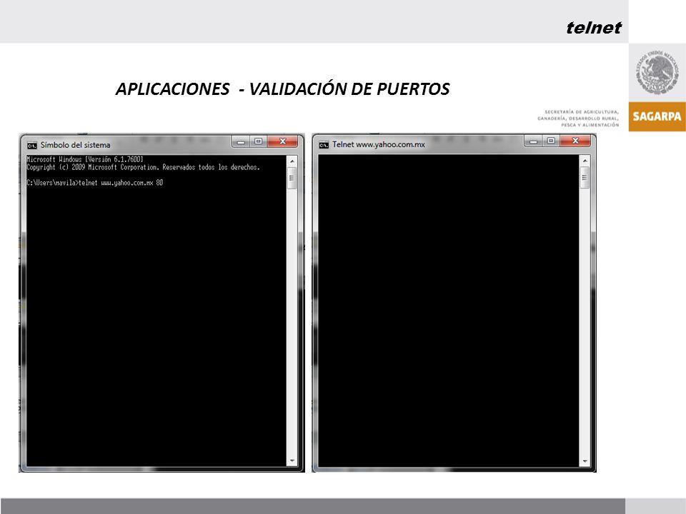 APLICACIONES - VALIDACIÓN DE PUERTOS telnet
