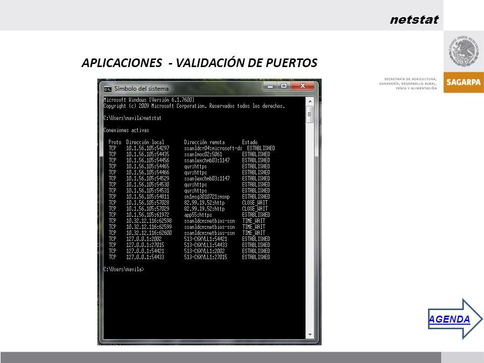 netstat APLICACIONES - VALIDACIÓN DE PUERTOS AGENDA