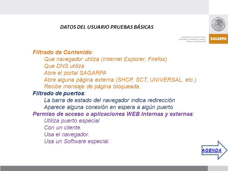 Filtrado de Contenido: Que navegador utiliza (Internet Explorer, Firefox) Que DNS utiliza Abre el portal SAGARPA Abre alguna página externa (SHCP, SCT