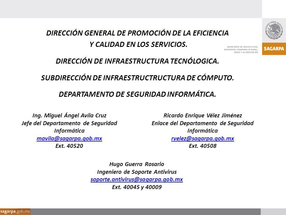 Ricardo Enrique Vélez Jiménez Enlace del Departamento de Seguridad Informática rvelez@sagarpa.gob.mx Ext. 40508 Ing. Miguel Ángel Avíla Cruz Jefe del