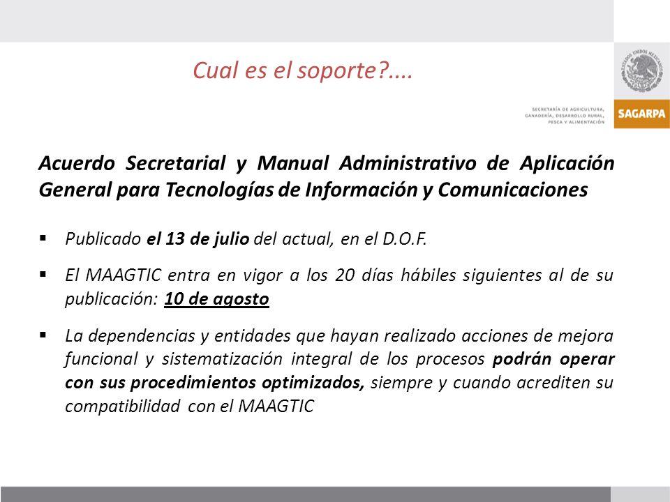 Acuerdo Secretarial y Manual Administrativo de Aplicación General para Tecnologías de Información y Comunicaciones Publicado el 13 de julio del actual