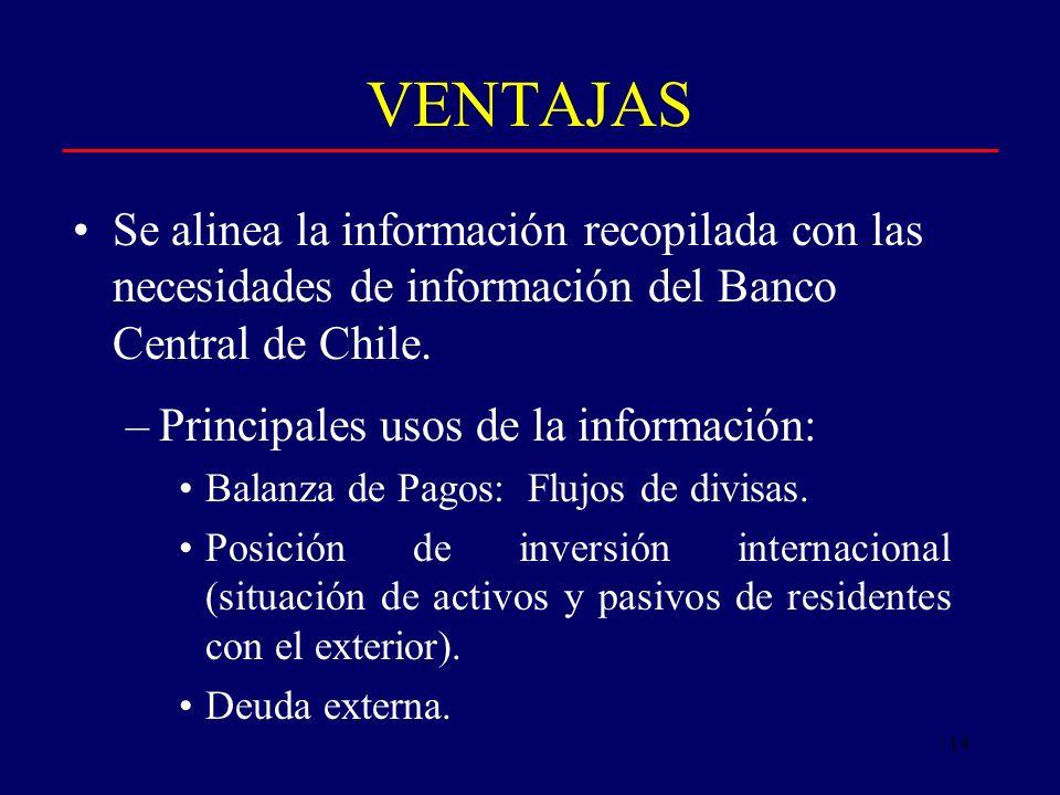 14 VENTAJAS Se alinea la información recopilada con las necesidades de información del Banco Central de Chile.
