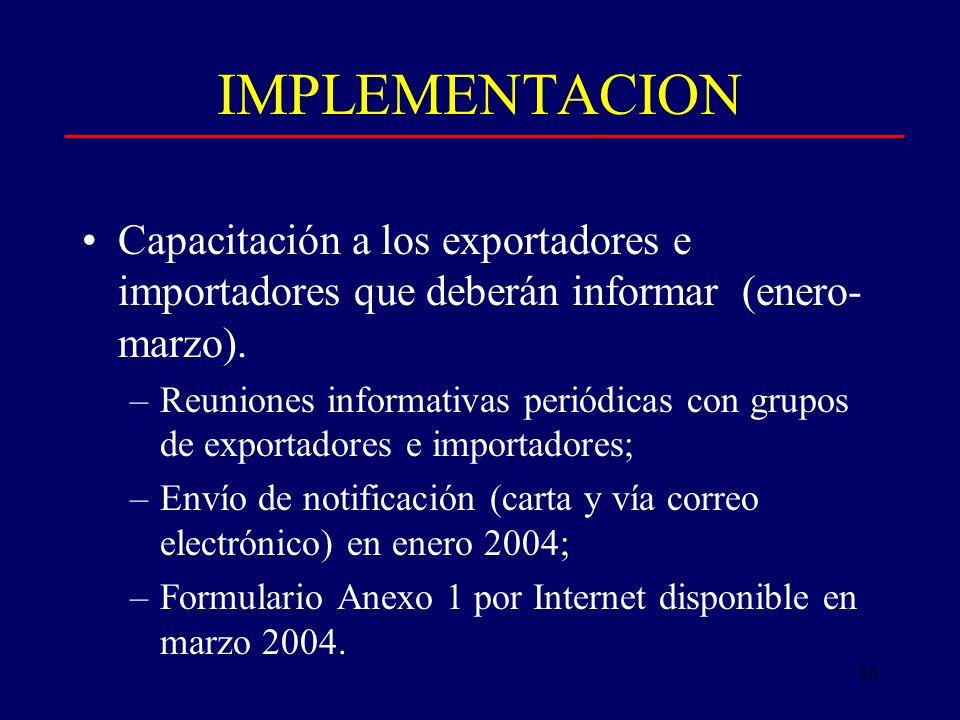16 IMPLEMENTACION Capacitación a los exportadores e importadores que deberán informar (enero- marzo).