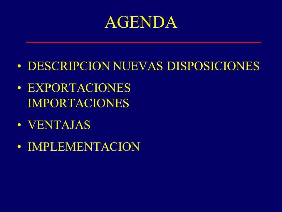 2 AGENDA DESCRIPCION NUEVAS DISPOSICIONES EXPORTACIONES IMPORTACIONES VENTAJAS IMPLEMENTACION
