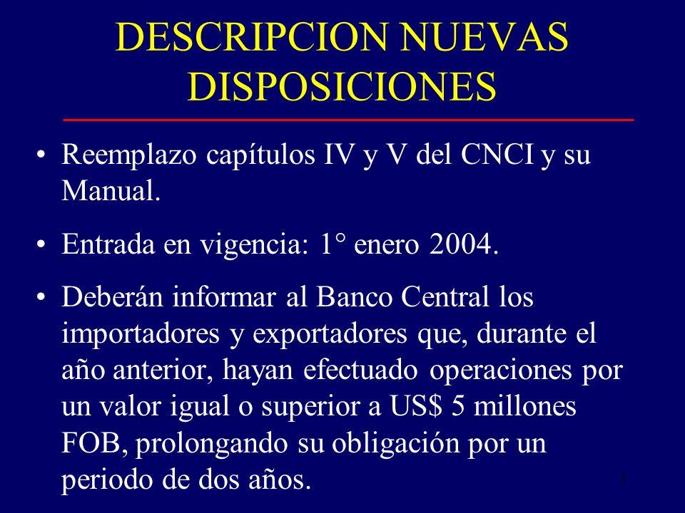 3 DESCRIPCION NUEVAS DISPOSICIONES Reemplazo capítulos IV y V del CNCI y su Manual.