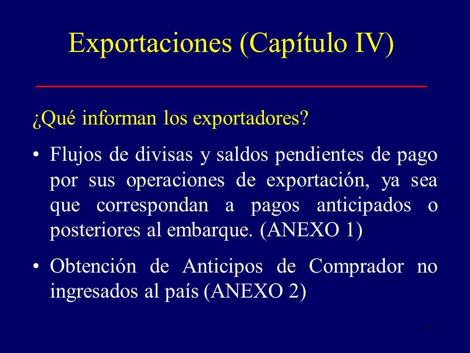 7 Exportaciones (Capítulo IV) ¿Qué informan los exportadores.