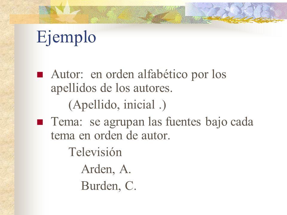 Ejemplo Autor: en orden alfabético por los apellidos de los autores. (Apellido, inicial.) Tema: se agrupan las fuentes bajo cada tema en orden de auto