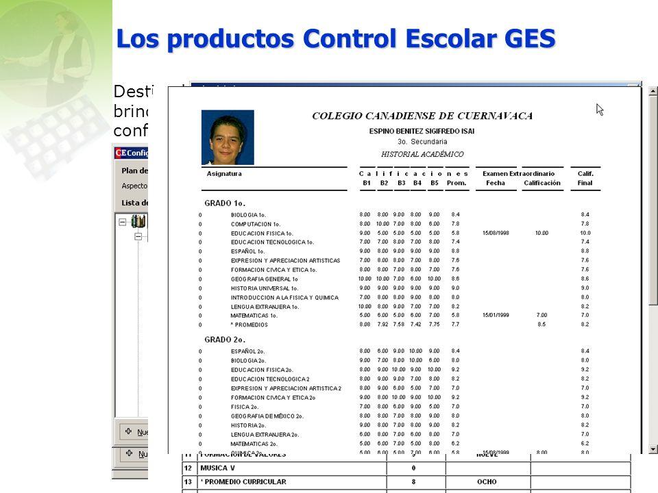 Los productos Control Escolar GES Destinados a las instituciones educativas que deseen brindar a sus clientes (alumnos y padres) una atención confiable, moderna y de calidad, a la vez que se atienden los requerimientos internos y con las instancias normativas.