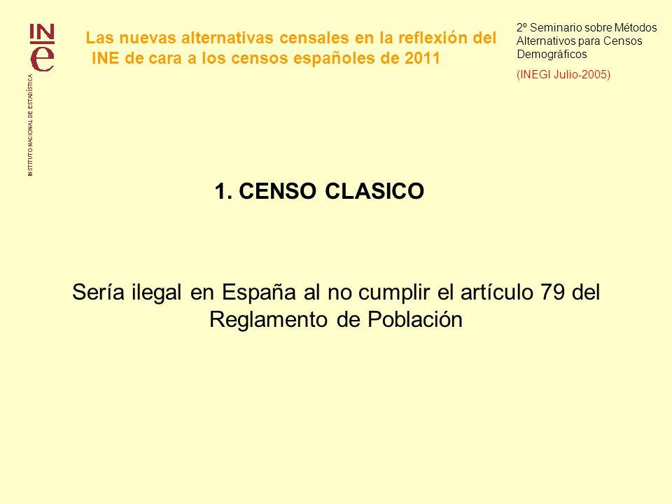 Las nuevas alternativas censales en la reflexión del INE de cara a los censos españoles de 2011 2º Seminario sobre Métodos Alternativos para Censos Demográficos (INEGI Julio-2005) 1.