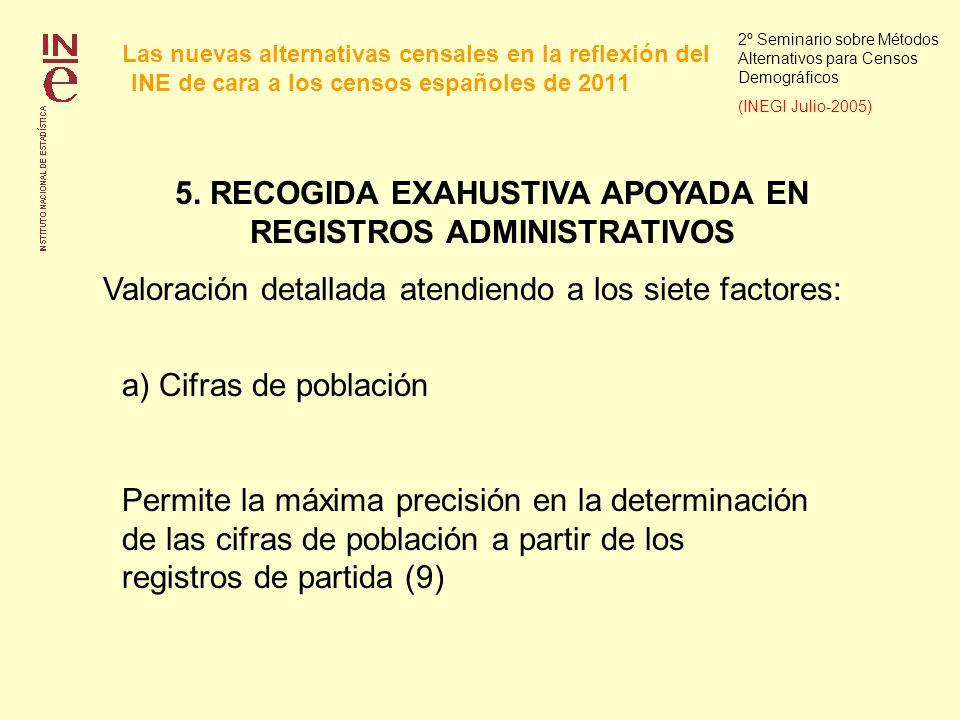 Las nuevas alternativas censales en la reflexión del INE de cara a los censos españoles de 2011 2º Seminario sobre Métodos Alternativos para Censos Demográficos (INEGI Julio-2005) 5.