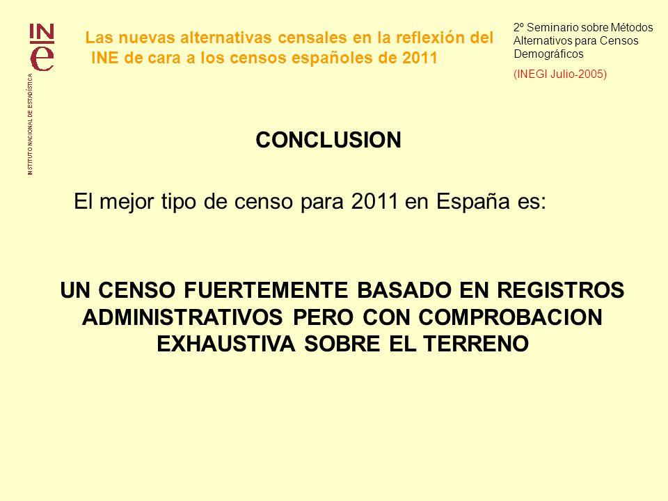 Las nuevas alternativas censales en la reflexión del INE de cara a los censos españoles de 2011 2º Seminario sobre Métodos Alternativos para Censos Demográficos (INEGI Julio-2005) CONCLUSION El mejor tipo de censo para 2011 en España es: UN CENSO FUERTEMENTE BASADO EN REGISTROS ADMINISTRATIVOS PERO CON COMPROBACION EXHAUSTIVA SOBRE EL TERRENO