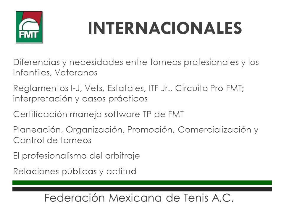 Federación Mexicana de Tenis A.C. Diferencias y necesidades entre torneos profesionales y los Infantiles, Veteranos Reglamentos I-J, Vets, Estatales,
