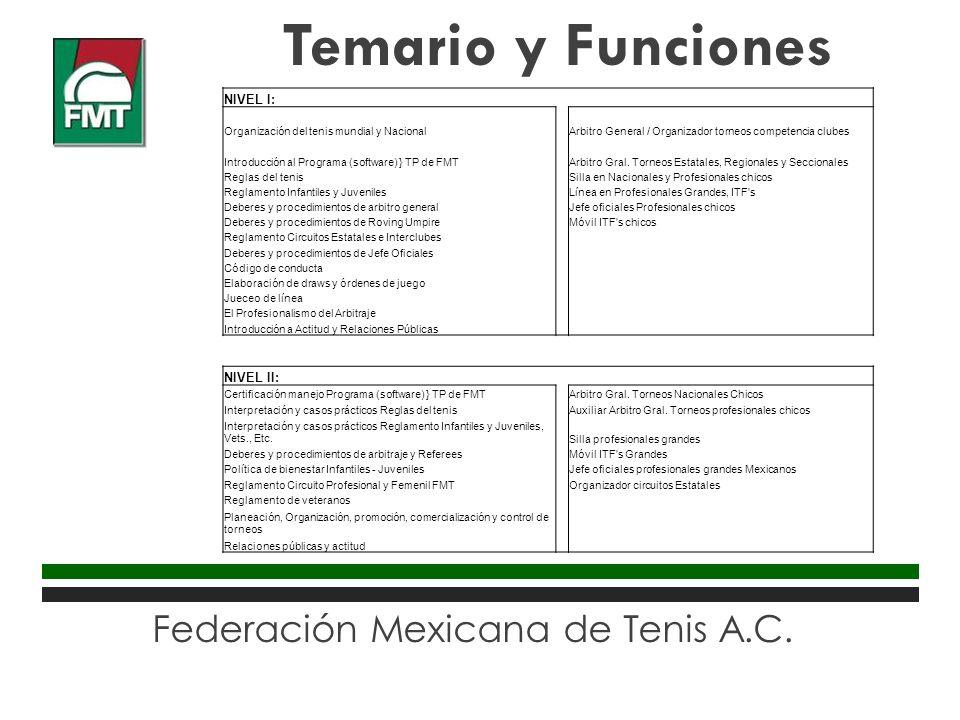 Federación Mexicana de Tenis A.C. Temario y Funciones NIVEL I: Organización del tenis mundial y NacionalArbitro General / Organizador torneos competen
