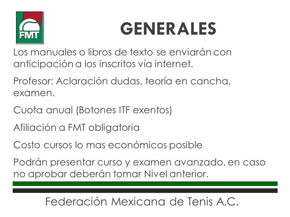 Federación Mexicana de Tenis A.C. Los manuales o libros de texto se enviarán con anticipación a los inscritos vía internet. Profesor: Aclaración dudas