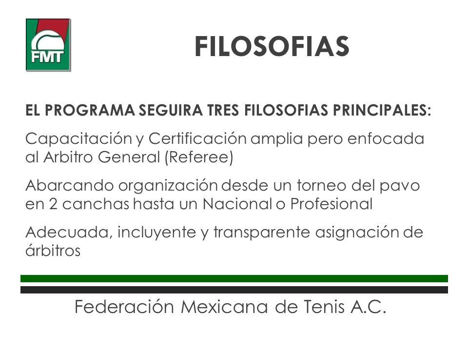 Federación Mexicana de Tenis A.C. EL PROGRAMA SEGUIRA TRES FILOSOFIAS PRINCIPALES: Capacitación y Certificación amplia pero enfocada al Arbitro Genera