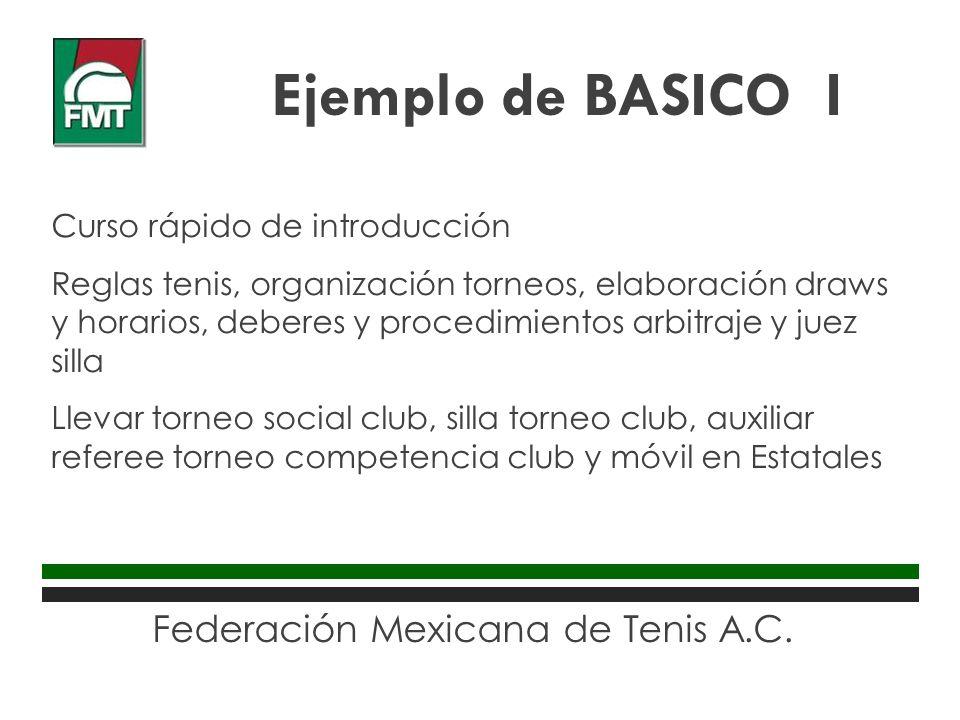 Federación Mexicana de Tenis A.C. Curso rápido de introducción Reglas tenis, organización torneos, elaboración draws y horarios, deberes y procedimien