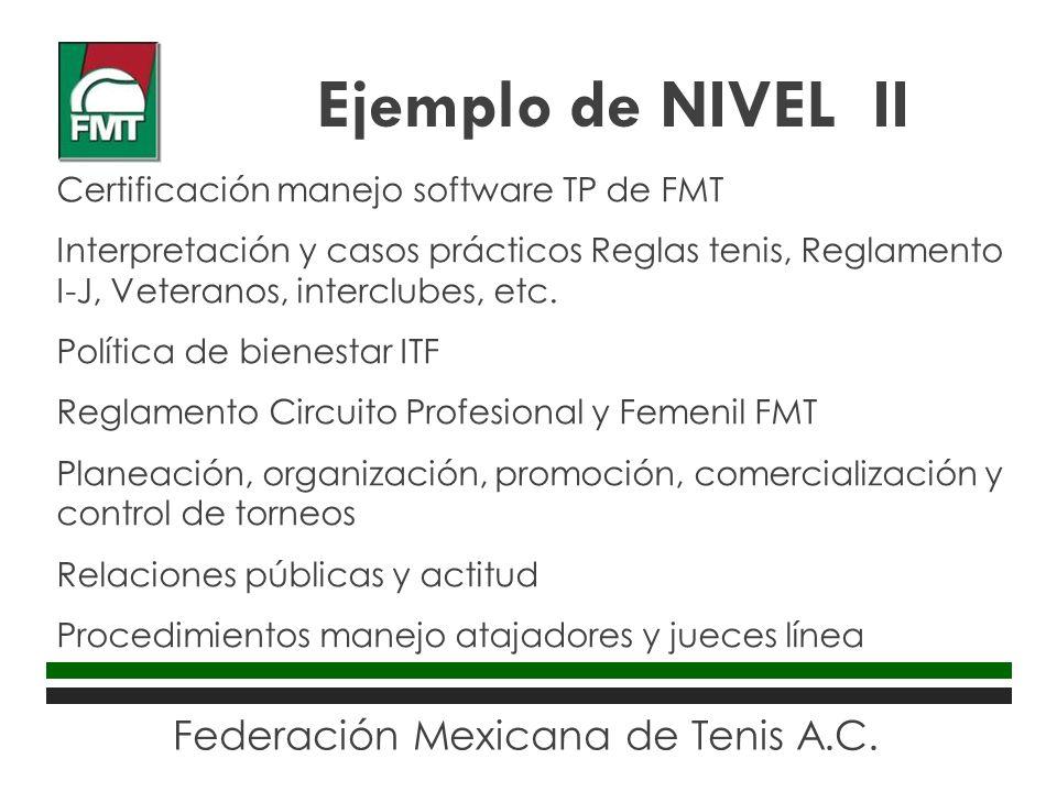Federación Mexicana de Tenis A.C. Certificación manejo software TP de FMT Interpretación y casos prácticos Reglas tenis, Reglamento I-J, Veteranos, in