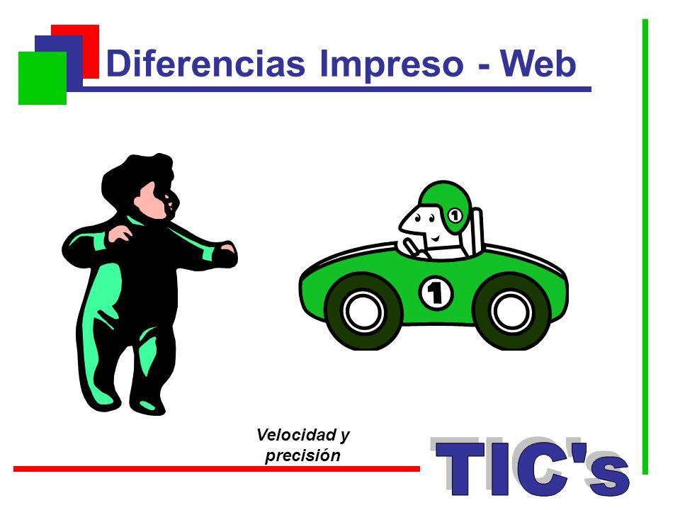 Diferencias Impreso - Web Velocidad y precisión