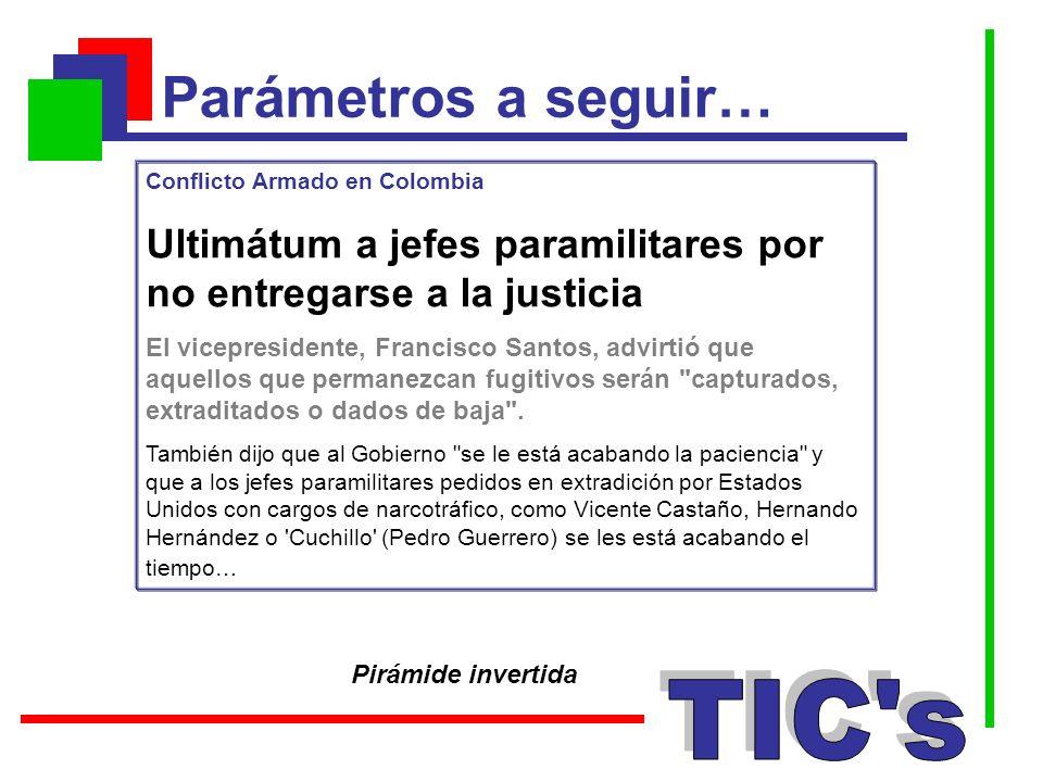 Parámetros a seguir… Pirámide invertida Conflicto Armado en Colombia Ultimátum a jefes paramilitares por no entregarse a la justicia El vicepresidente