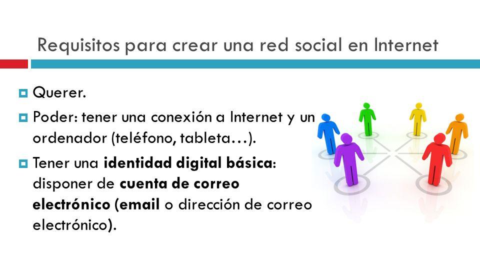 Requisitos para crear una red social en Internet Querer. Poder: tener una conexión a Internet y un ordenador (teléfono, tableta…). Tener una identidad