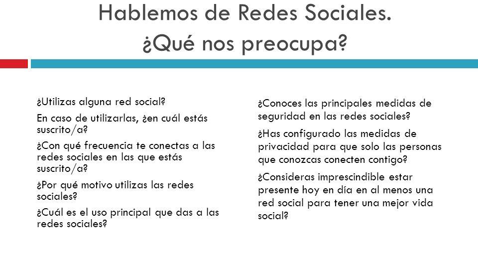 Hablemos de Redes Sociales. ¿Qué nos preocupa? ¿Utilizas alguna red social? En caso de utilizarlas, ¿en cuál estás suscrito/a? ¿Con qué frecuencia te