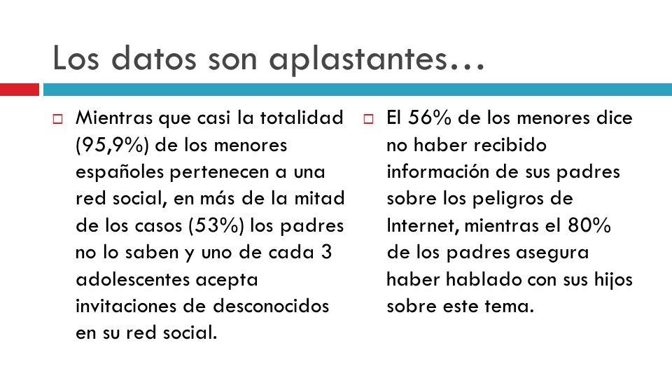 Percepciones distintas sobre los riesgos… Para los padres/madres son: Que se pongan en contacto con desconocidos: 39% Que accedan a información inapropiada: 37% Que puedan sufrir ciberbullying: 22% Otros: 3% Para los menores: Virus: 44% Hablar con desconocidos: 30% Spam: 19% Ciberbullying: 16% No hay amenazas: 13% Otras: 7%