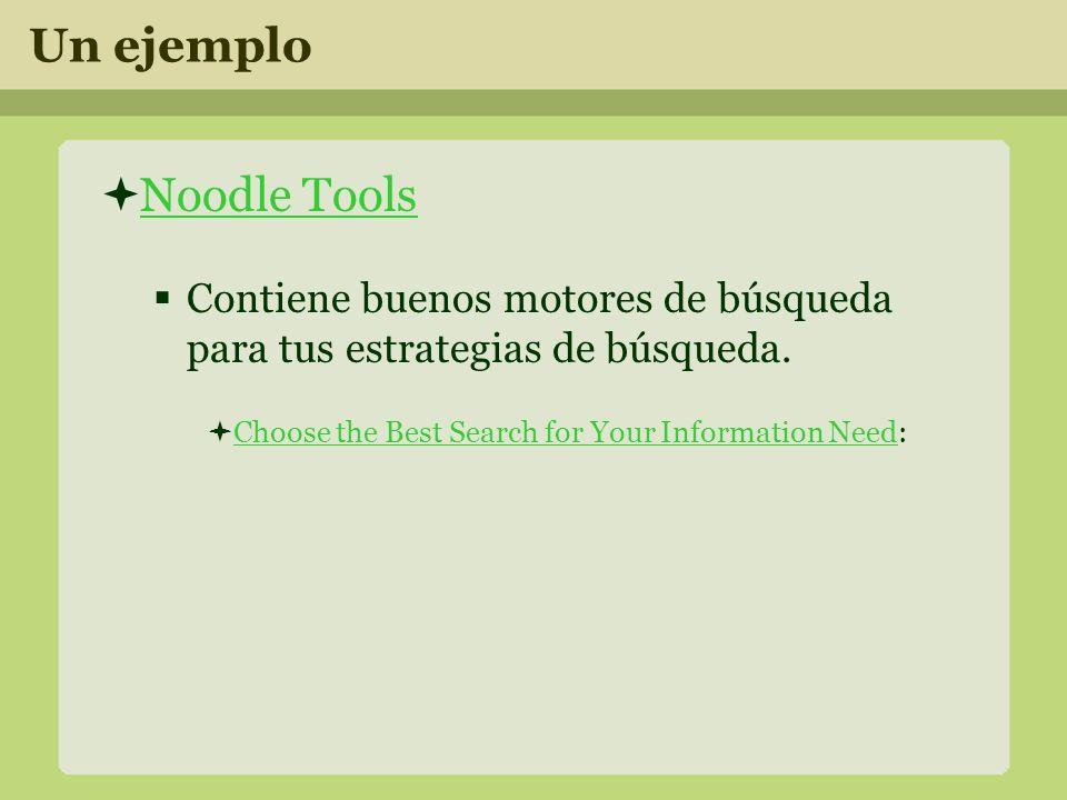 Un ejemplo Noodle Tools Contiene buenos motores de búsqueda para tus estrategias de búsqueda.