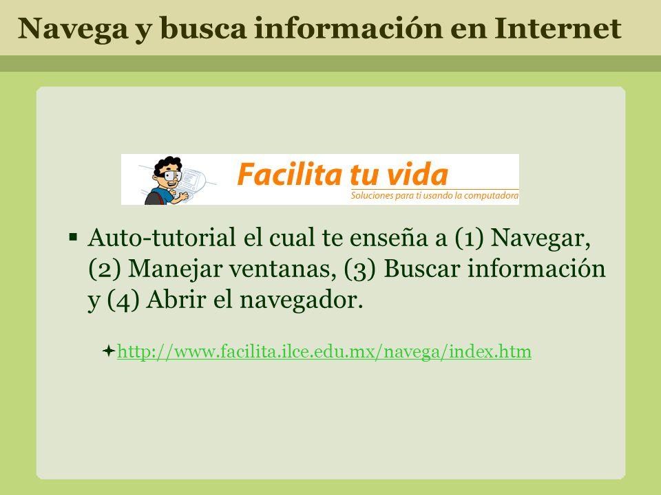 Auto-tutorial el cual te enseña a (1) Navegar, (2) Manejar ventanas, (3) Buscar información y (4) Abrir el navegador.