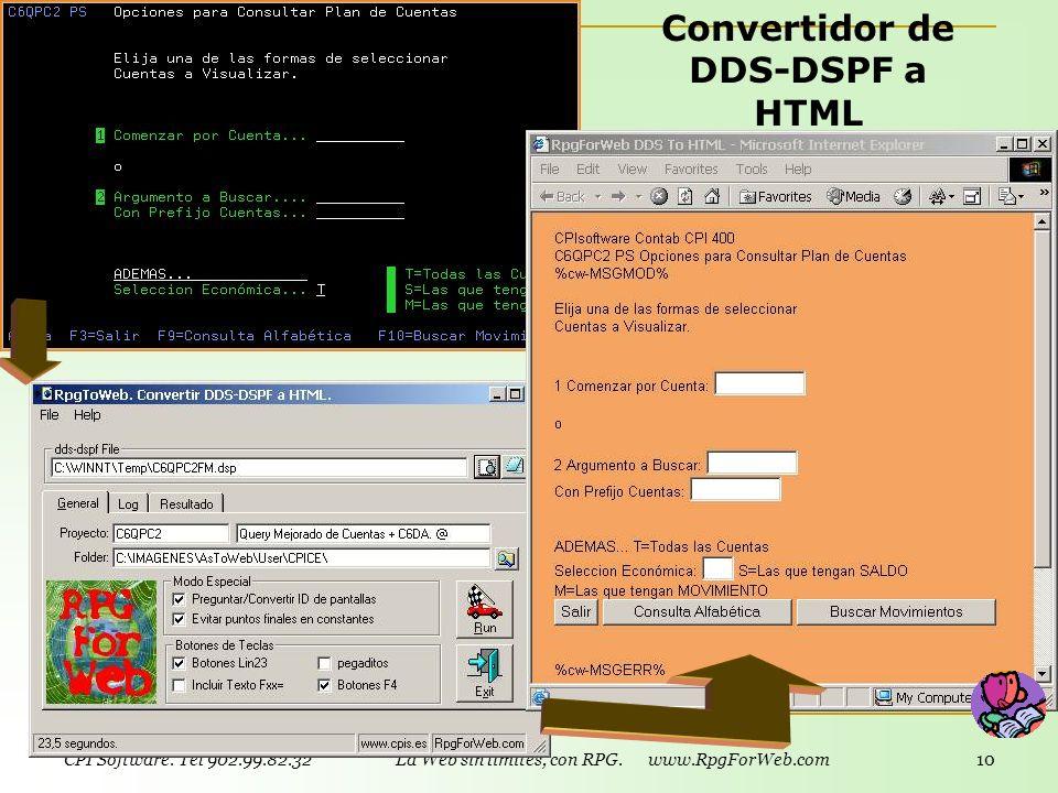 CPI Software. Tel 902.99.82.32 La Web sin límites, con RPG. www.RpgForWeb.com 9 Convertidor DSPF a HTML (mod. opcional) Permite rediseñar pantallas si