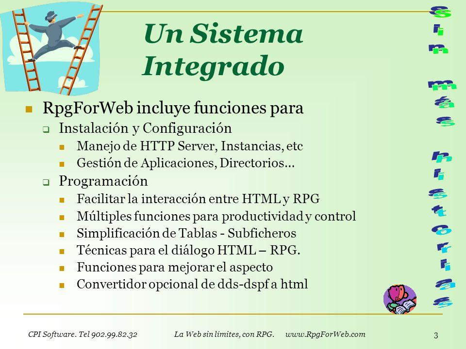 CPI Software. Tel 902.99.82.32 La Web sin límites, con RPG. www.RpgForWeb.com 2 Lo que funciona es lo que ya estás usando: tu AS/400 y tu RPG! No sólo