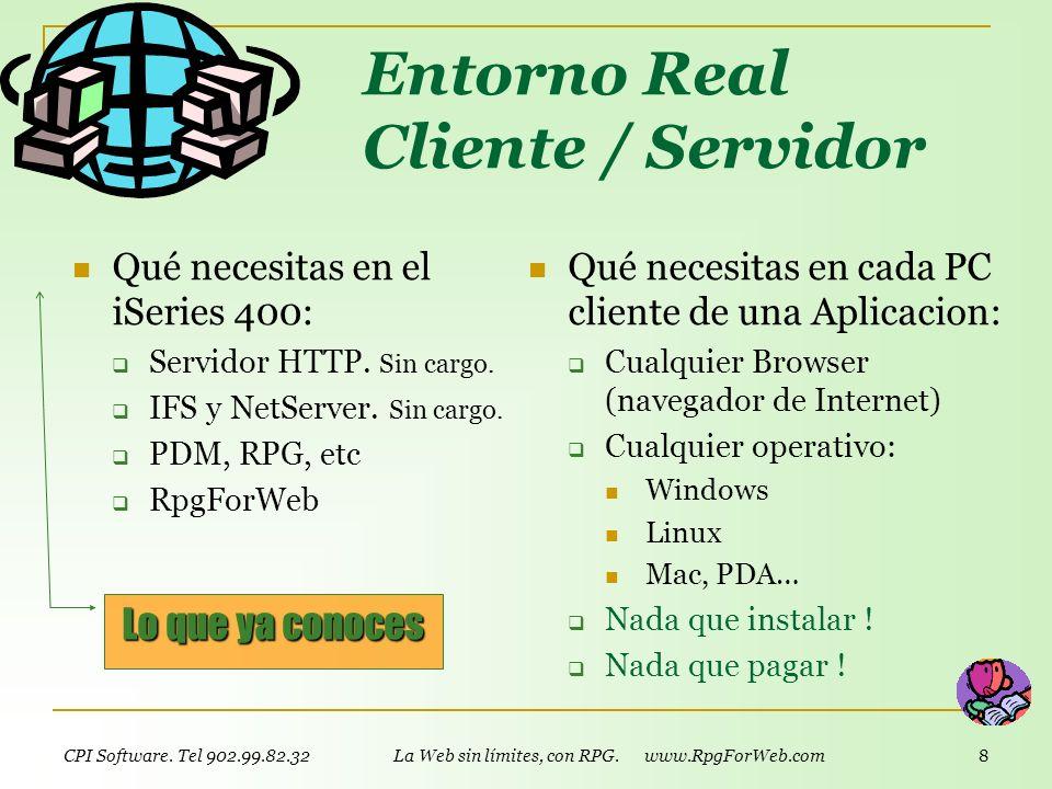 CPI Software. Tel 902.99.82.32 La Web sin límites, con RPG. www.RpgForWeb.com 7 Trabajo en equipo opcional RpgForWeb permite el trabajo en equipo: El