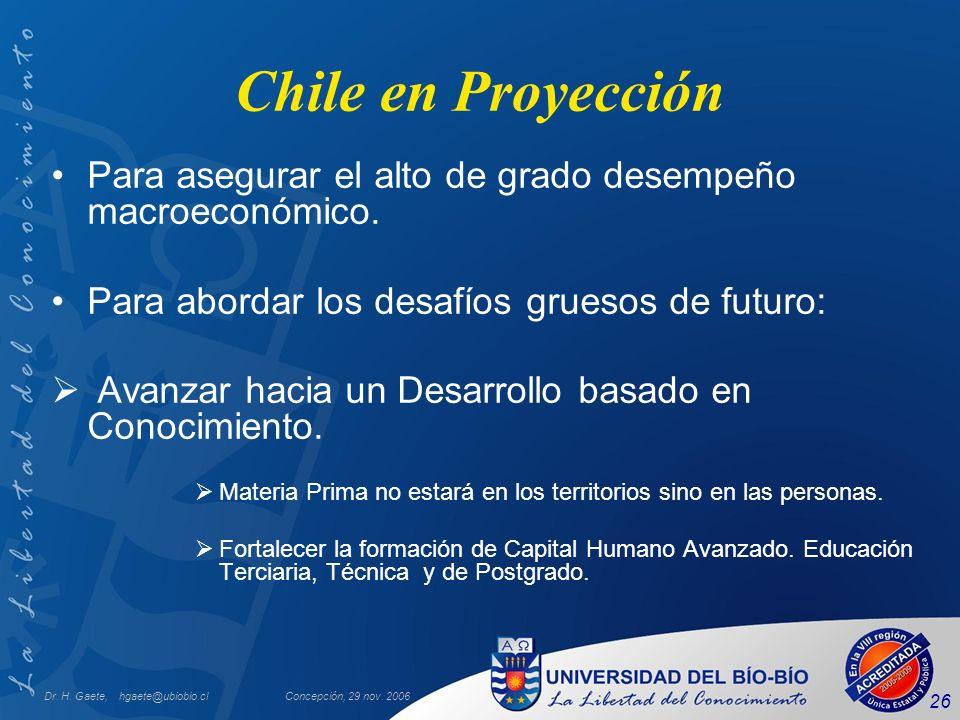 Dr. H. Gaete, hgaete@ubiobio.clConcepción, 29 nov. 2006 26 Chile en Proyección Para asegurar el alto de grado desempeño macroeconómico. Para abordar l