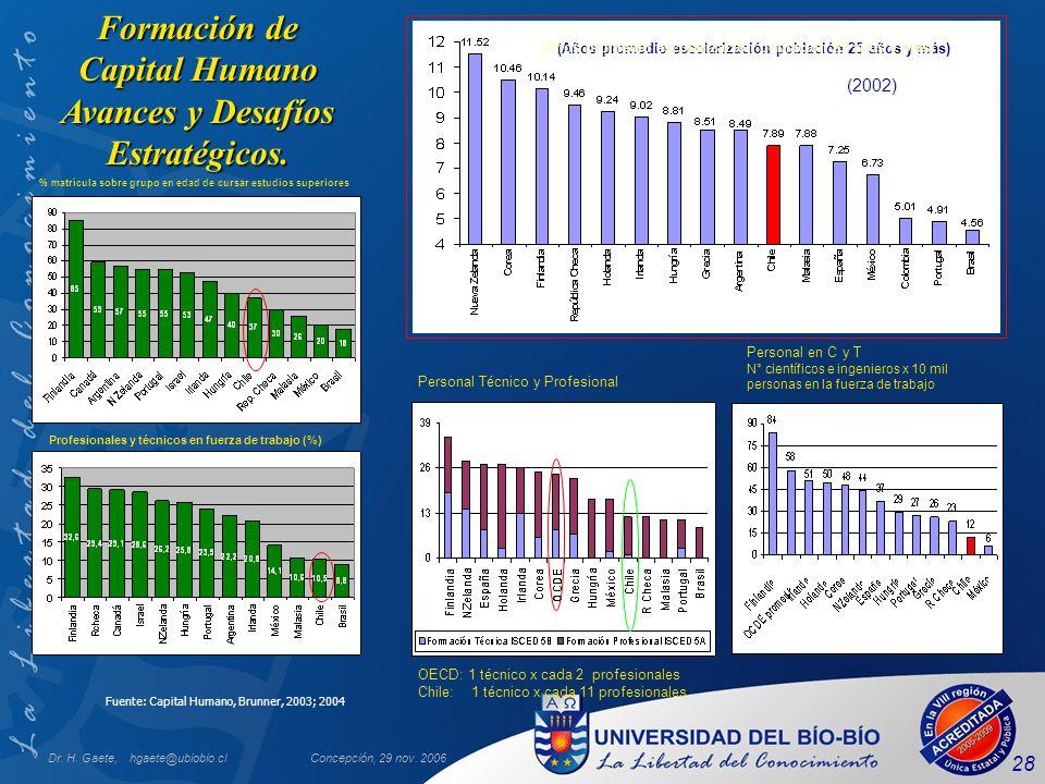 Dr. H. Gaete, hgaete@ubiobio.clConcepción, 29 nov. 2006 28 Fuente: Capital Humano, Brunner, 2003; 2004 Formación de Capital Humano Avances y Desafíos