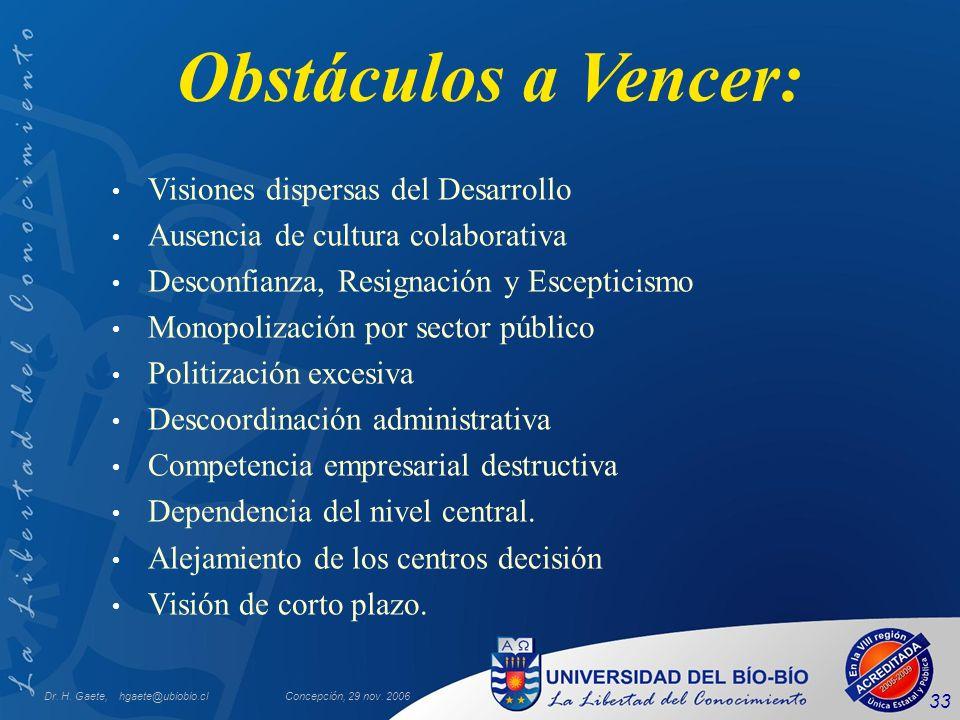 Dr. H. Gaete, hgaete@ubiobio.clConcepción, 29 nov. 2006 33 Obstáculos a Vencer: Visiones dispersas del Desarrollo Ausencia de cultura colaborativa Des