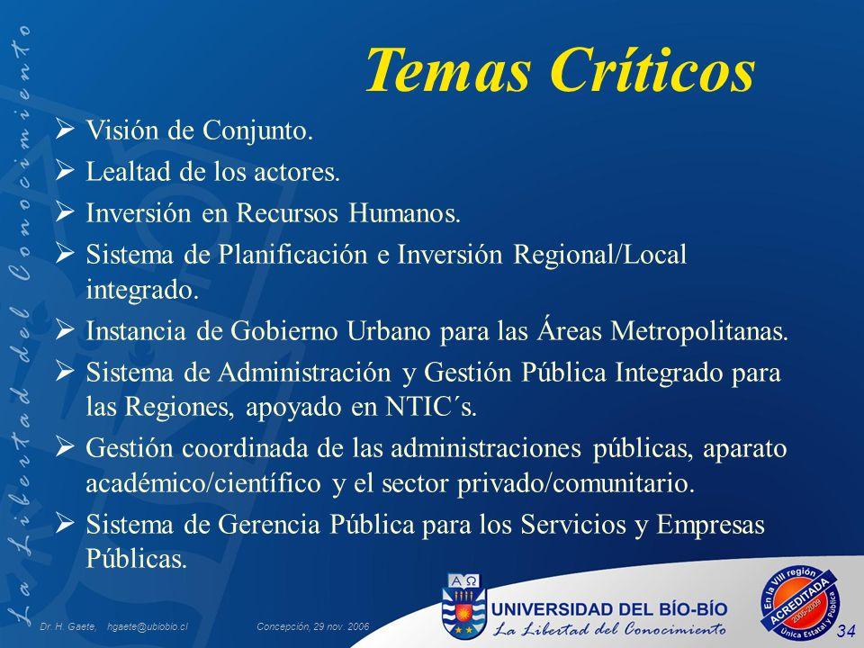 Dr. H. Gaete, hgaete@ubiobio.clConcepción, 29 nov. 2006 34 Temas Críticos Visión de Conjunto. Lealtad de los actores. Inversión en Recursos Humanos. S