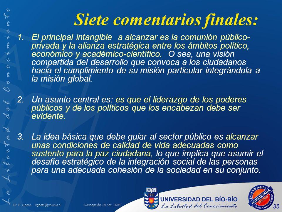 Dr. H. Gaete, hgaete@ubiobio.clConcepción, 29 nov. 2006 35 Siete comentarios finales: 1.El principal intangible a alcanzar es la comunión público- pri