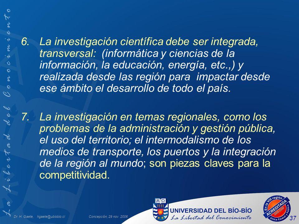 Dr. H. Gaete, hgaete@ubiobio.clConcepción, 29 nov. 2006 37 6.La investigación científica debe ser integrada, transversal: (informática y ciencias de l