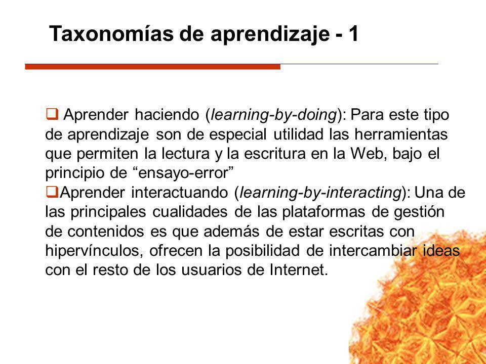 Aprender haciendo (learning-by-doing): Para este tipo de aprendizaje son de especial utilidad las herramientas que permiten la lectura y la escritura