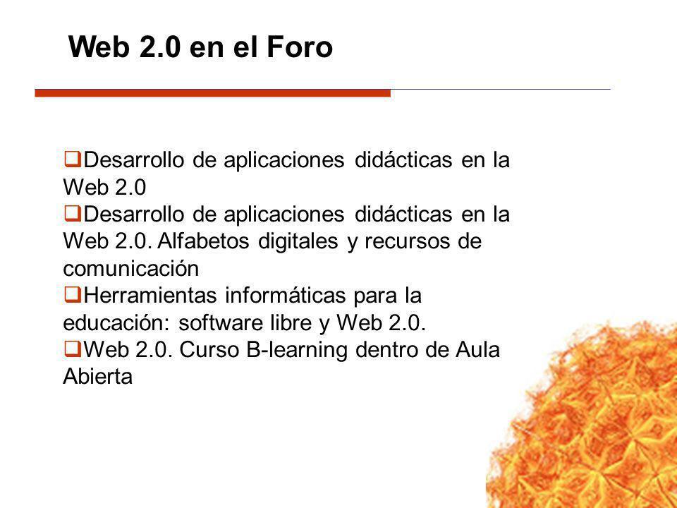 Desarrollo de aplicaciones didácticas en la Web 2.0 Desarrollo de aplicaciones didácticas en la Web 2.0. Alfabetos digitales y recursos de comunicació