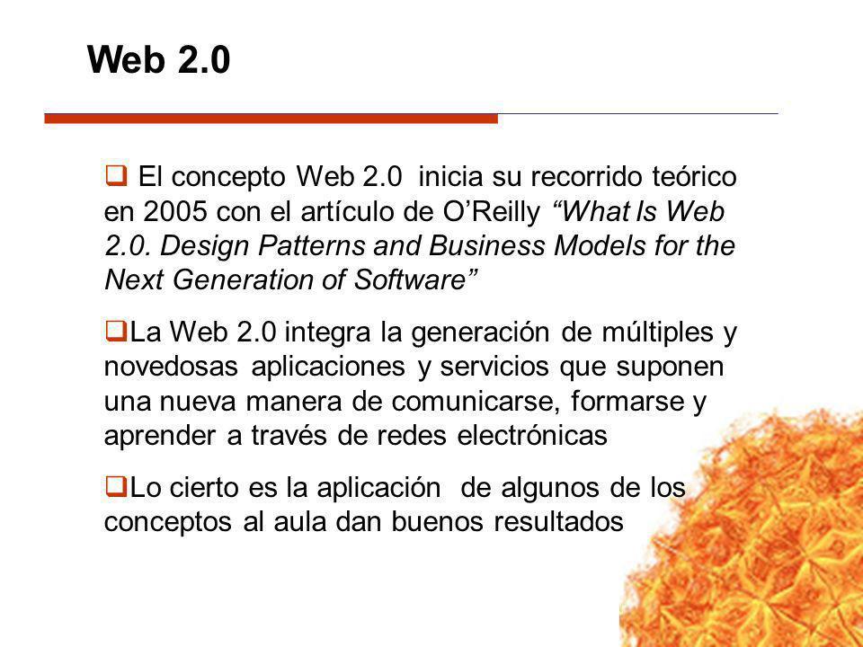 El concepto Web 2.0 inicia su recorrido teórico en 2005 con el artículo de OReilly What Is Web 2.0. Design Patterns and Business Models for the Next G