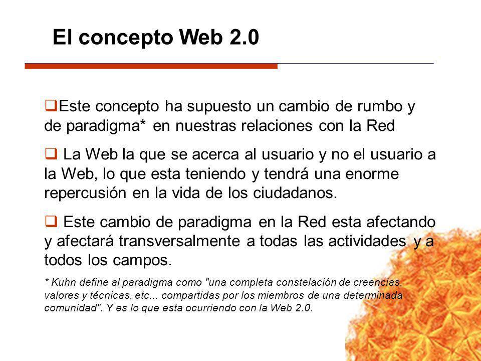 Este concepto ha supuesto un cambio de rumbo y de paradigma* en nuestras relaciones con la Red La Web la que se acerca al usuario y no el usuario a la